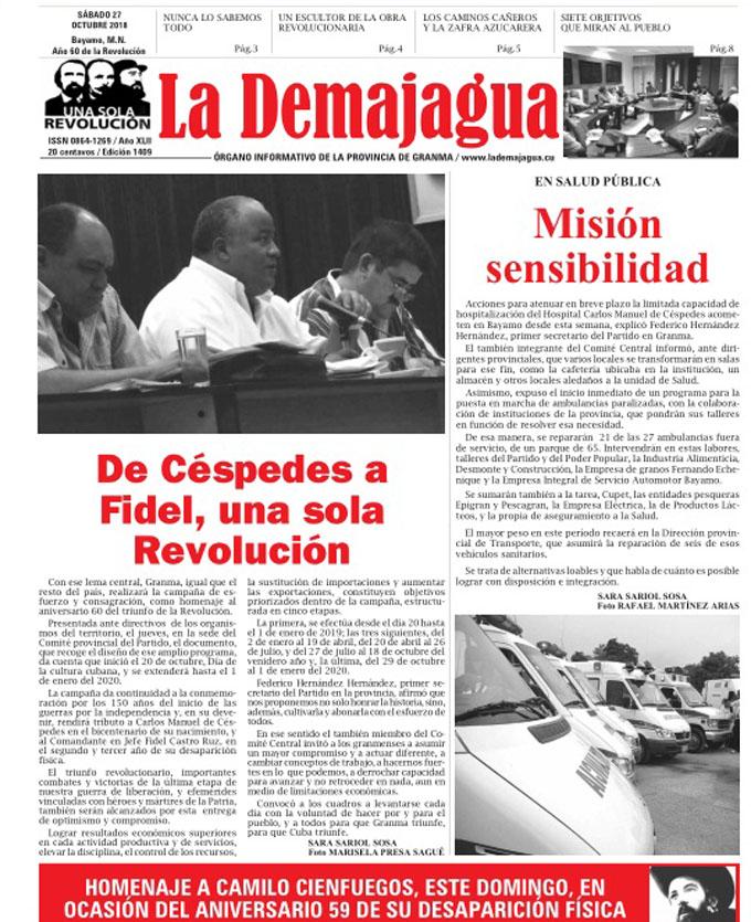 Edición impresa 1409, del semanario La Demajagua, sábado 27 de octubre de 2018