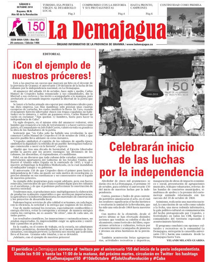 Edición impresa 1406, del semanario La Demajagua, sábado 6 de octubre de 2018
