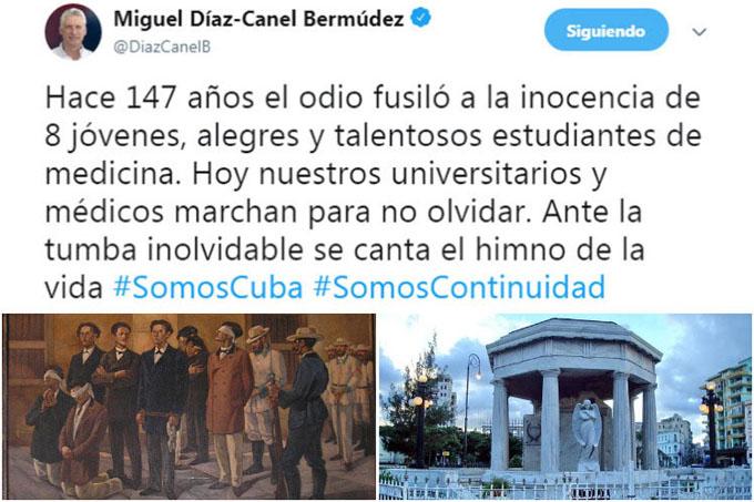 Presidente de Cuba rinde homenaje a estudiantes asesinados en 1871