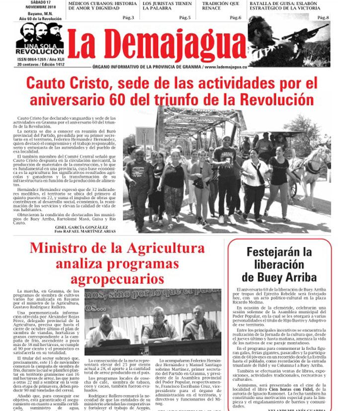 Edición impresa 1412, del semanario La Demajagua, sábado 17 de noviembre 2018