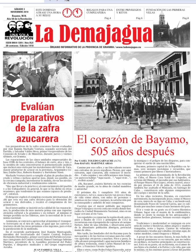 Edición impresa 1410, del semanario La Demajagua, sábado 3 de noviembre 2018