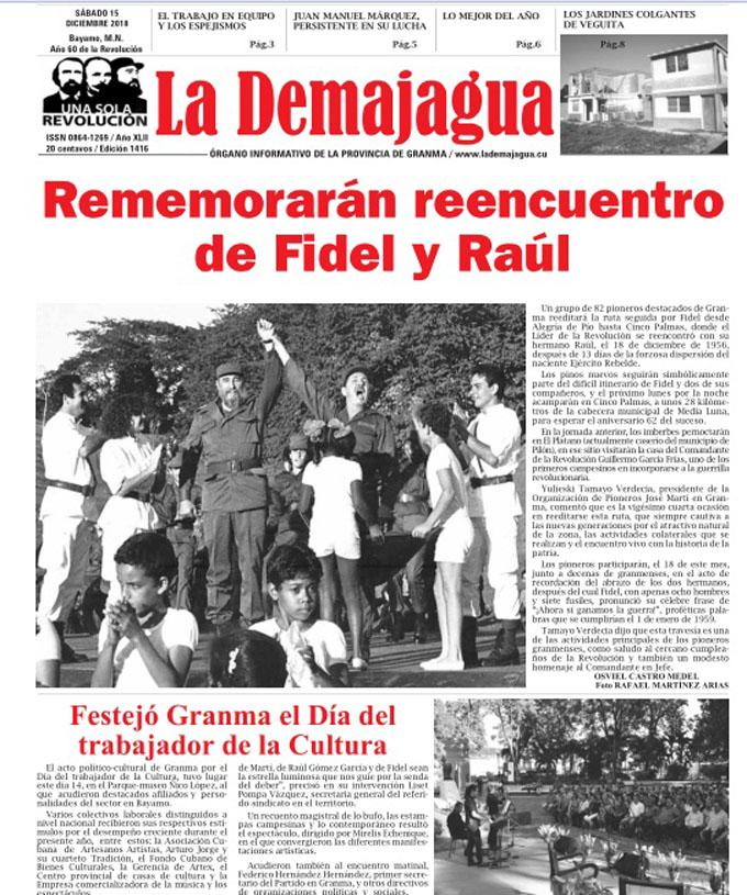 Edición impresa 1416, del semanario La Demajagua, sábado 15 de diciembre 2018