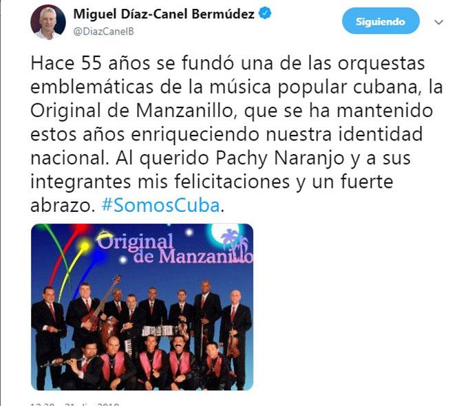 Felicita presidente de Cuba a la Original de Manzanillo
