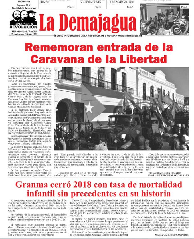 Edición impresa 1419, del semanario La Demajagua, sábado 5 de enero 2019
