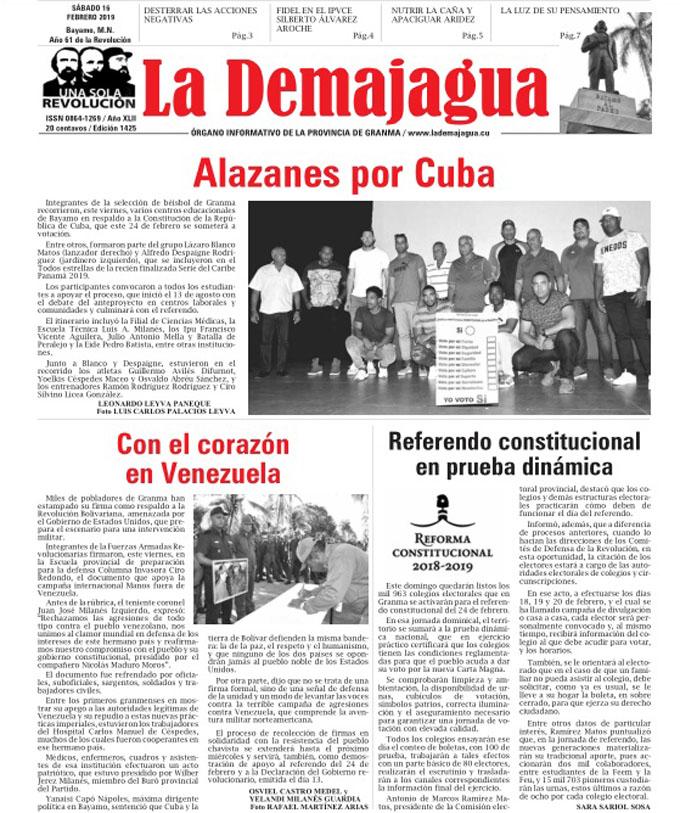 Edición impresa 1425 del semanario La Demajagua, sábado 16 de febrero 2019