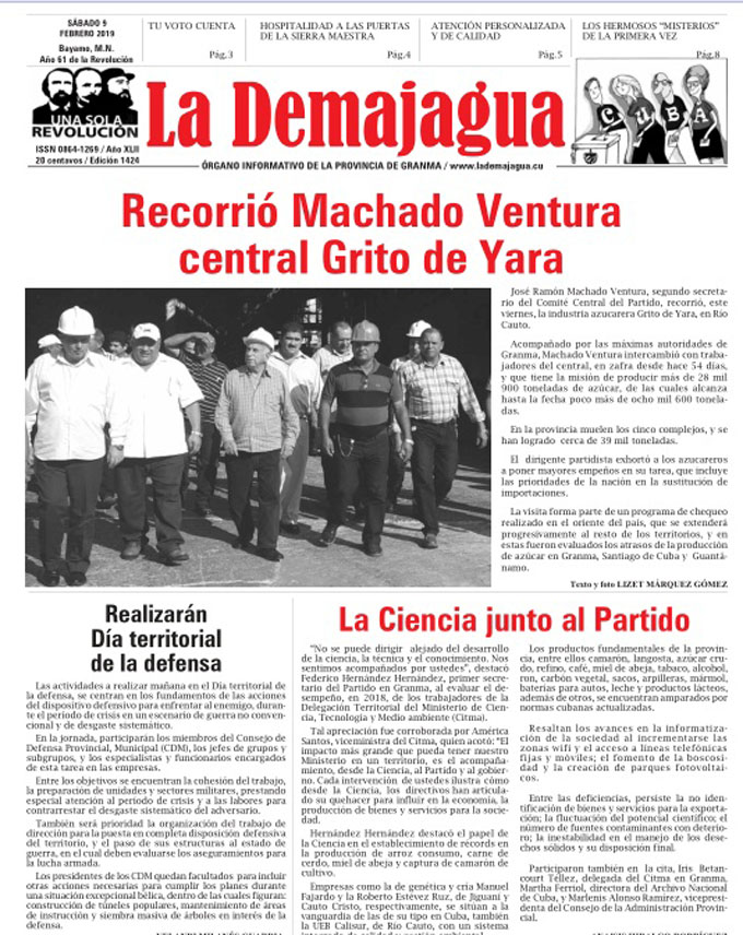 Edición impresa 1424, del semanario La Demajagua, sábado 9 de febrero 2019