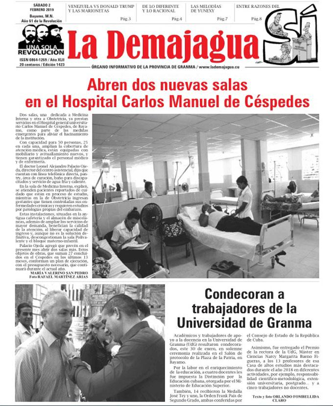 Edición impresa 1423, del semanario La Demajagua, sábado 2 de febrero 2019