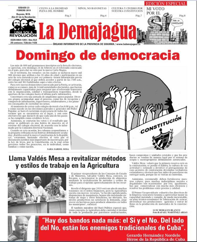 Edición impresa 1426 del semanario La Demajagua, sábado 23 de febrero 2019