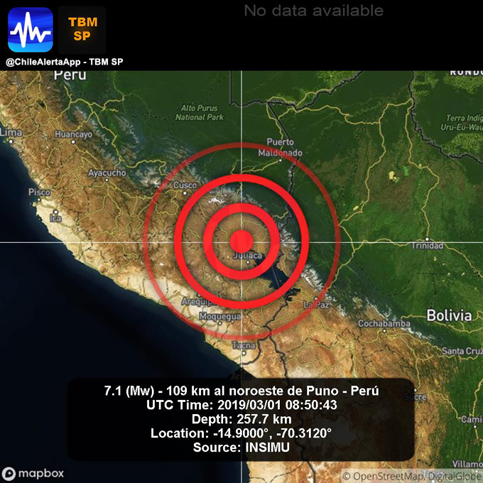 Sismo estremece zonas de La Paz, Bolivia(+video)