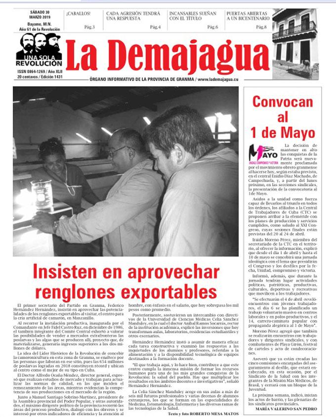 Edición impresa 1431, del semanario La Demajagua, sábado 30 de marzo 2019