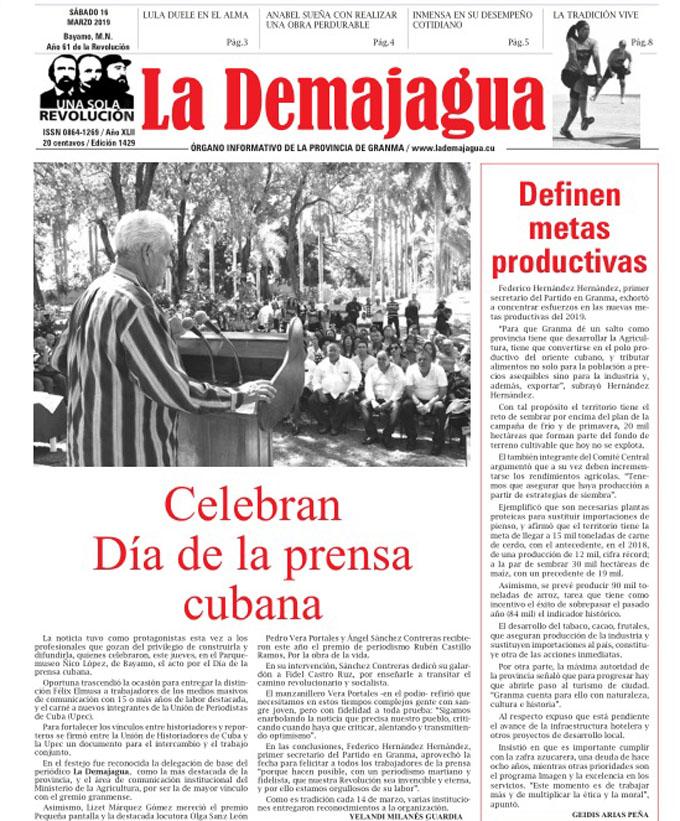 Edición impresa 1429, del semanario La Demajagua, sábado 16 de marzo 2019