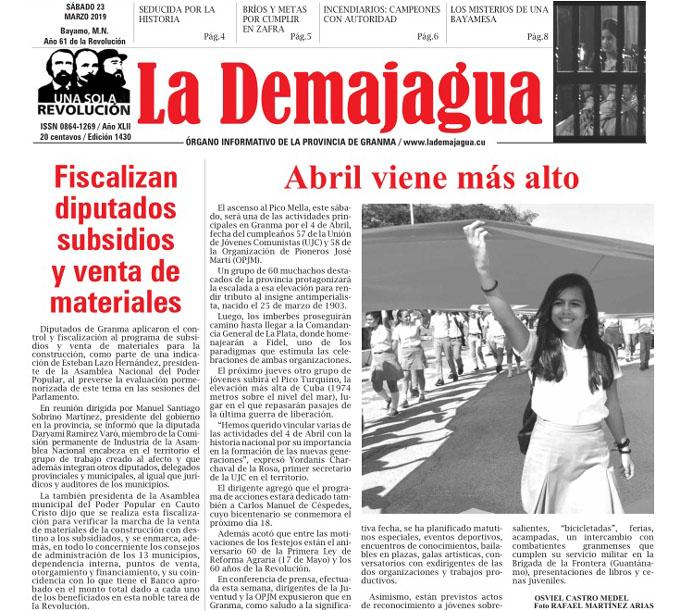 Edición impresa 1430, del semanario La Demajagua, sábado 23 de marzo 2019