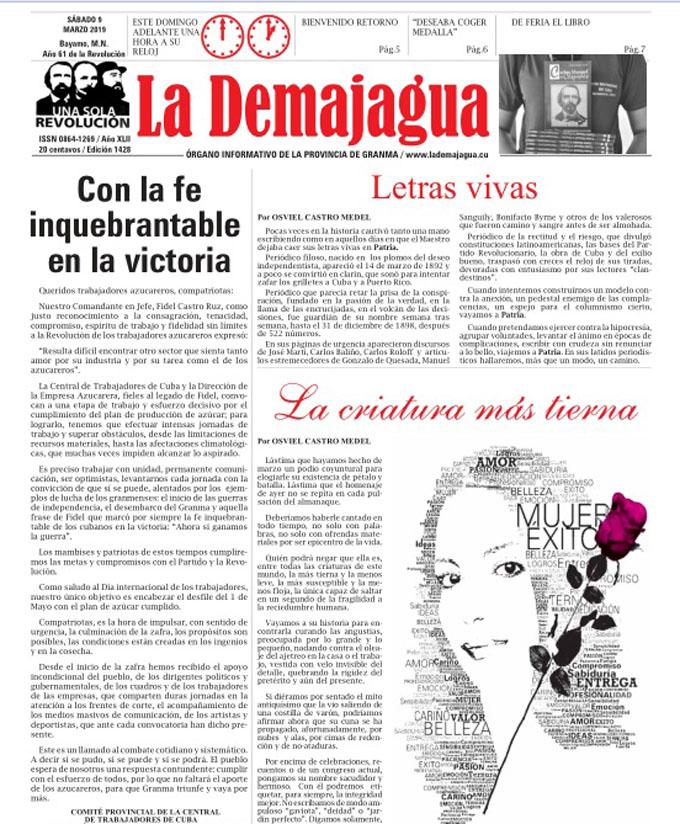 Edición impresa 1428, del semanario La Demajagua, sábado 9 de marzo 2019