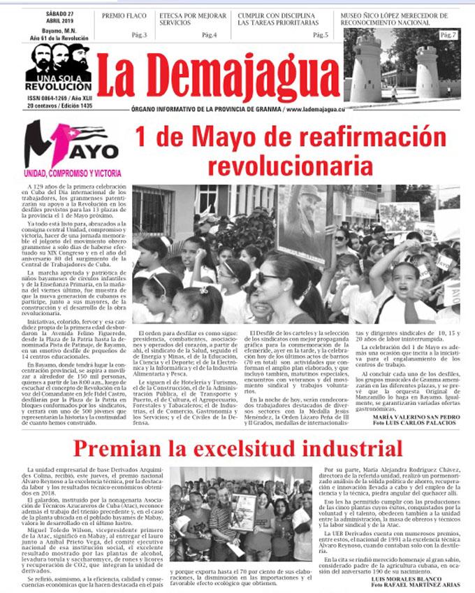 Edición impresa 1435, del semanario La Demajagua, sábado 27 de abril 2019