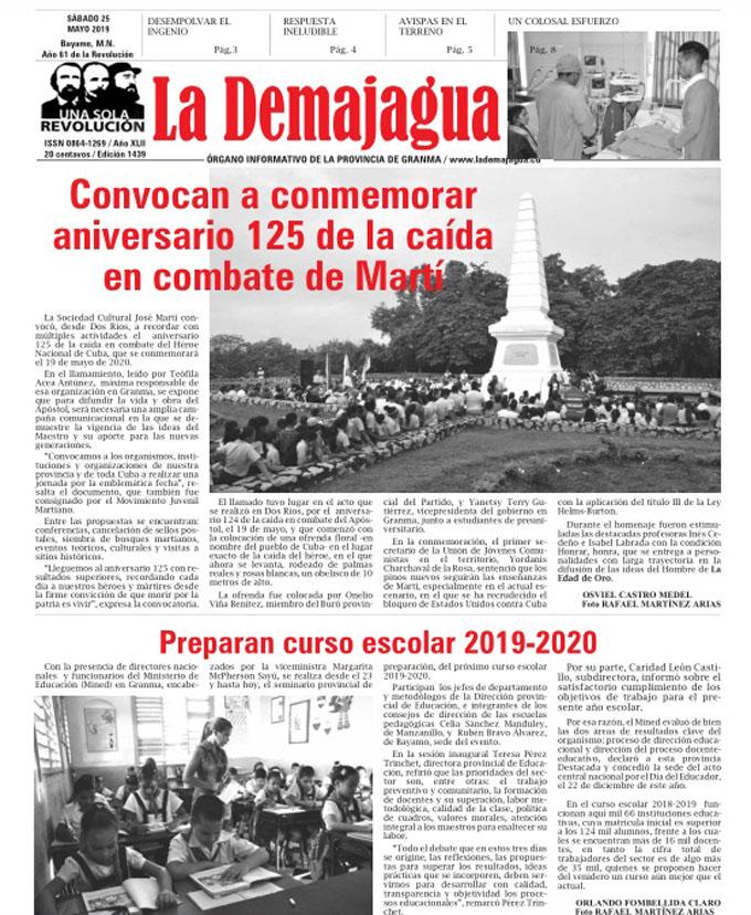 La edición impresa 1439, del semanario La Demajagua, sábado 25 de mayo 2019