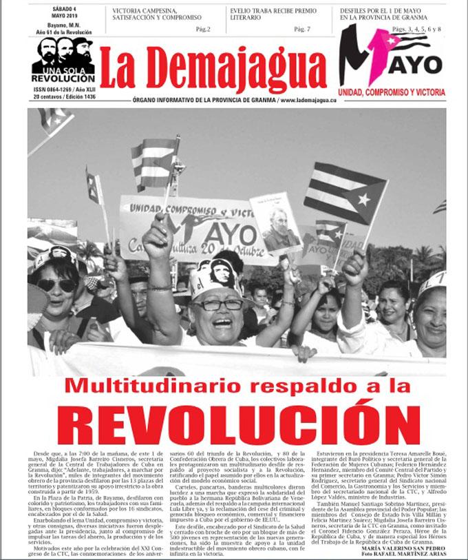 Edición impresa 1436, del semanario La Demajagua, sábado 4 de mayo 2019