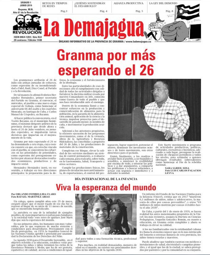 Edición impresa 1440, del semanario La Demajagua, sábado 1 de junio del 2019