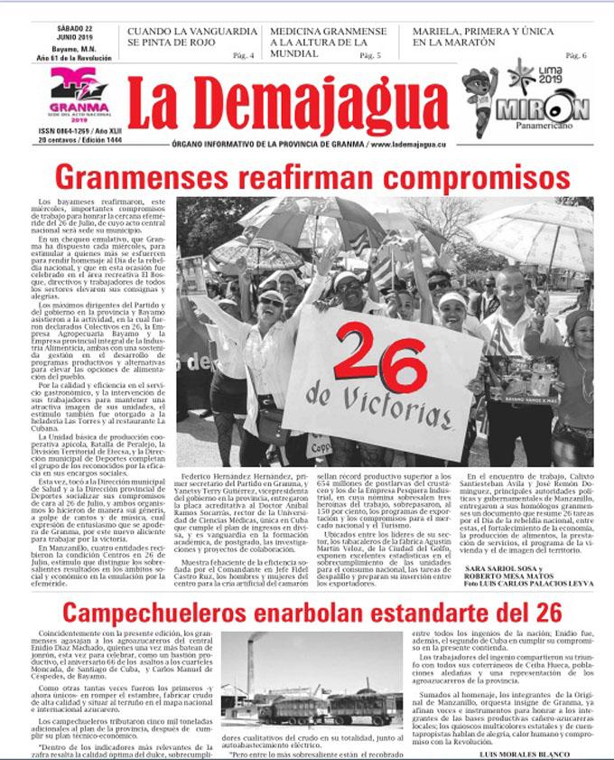 Edición impresa 1444 del semanario La Demajagua, sábado 22 de junio del 2019