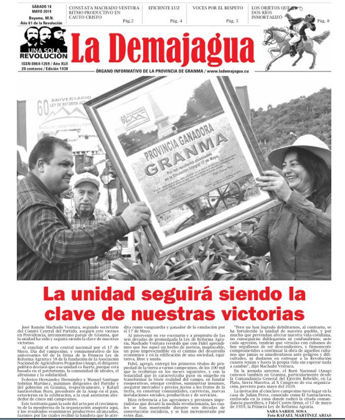 La edición impresa 1433, del semanario La Demajagua, sábado 13 de abril 2019