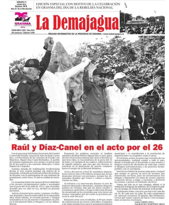 Edición impresa 1449, del semanario La Demajagua, sábado 27de julio de 2019