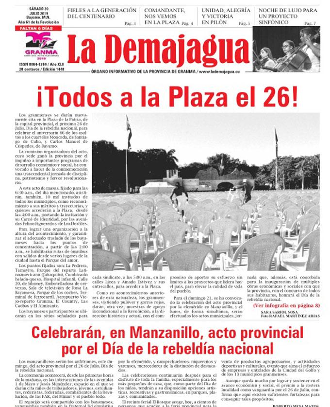 Edición impresa 1448, del semanario La Demajagua, sábado 20 de julio 2019