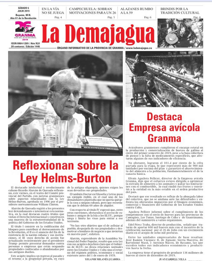 Edición impresa 1446 del semanario La Demajagua, sábado 6 de julio de 2019