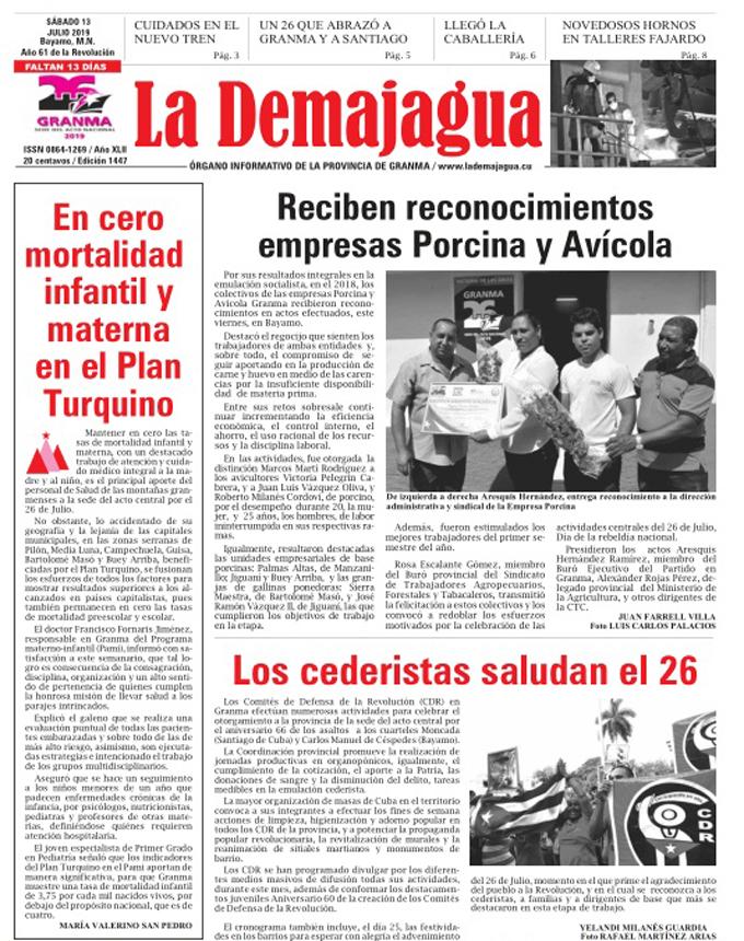 Edición impresa 1447, del semanario La Demajagua, sábado 13 de julio de 2019
