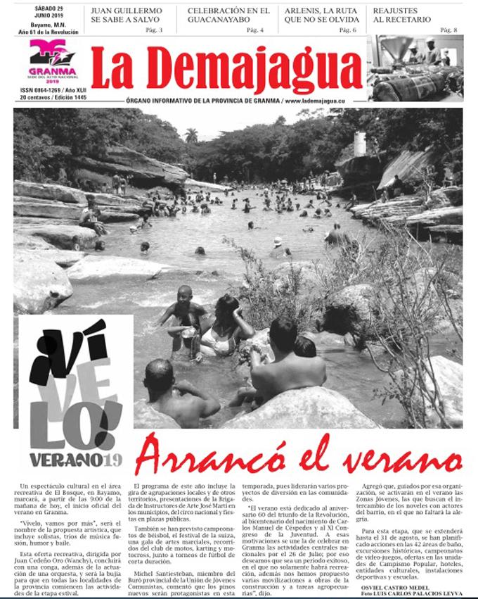 Edición impresa 1445 del semanario La Demajagua, sábado 29 de junio 2019