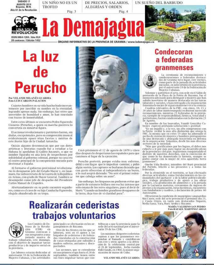 Edición impresa 1452, del semanario La Demajagua, sábado 17 de agosto de 2019