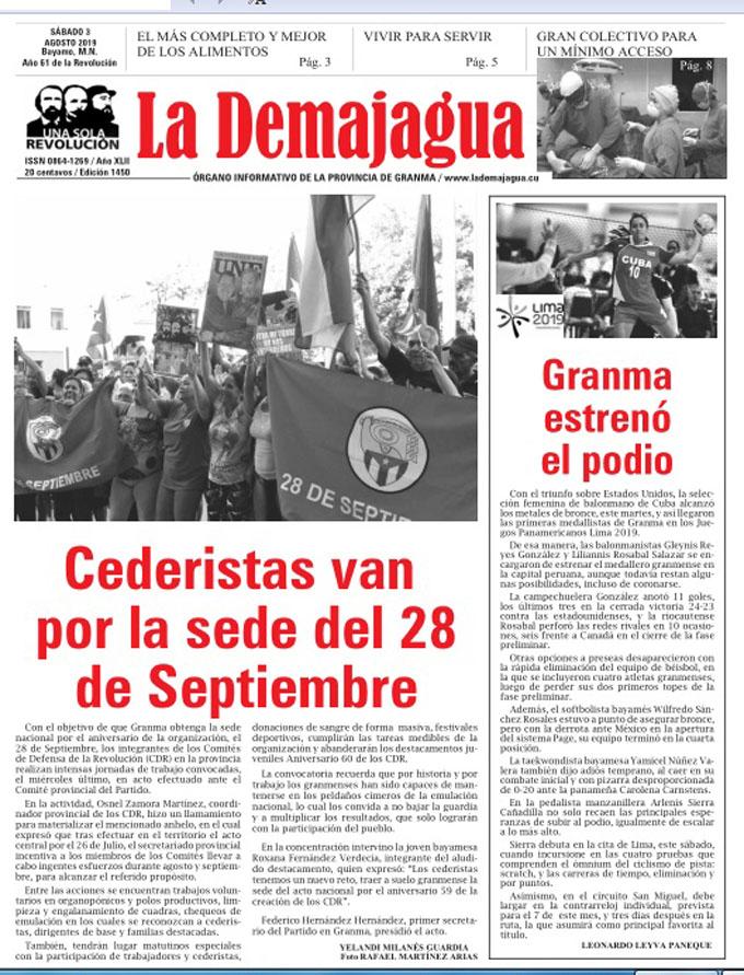 Edición impresa 1450, del semanario La Demajagua, sábado 3 de agosto de 2019