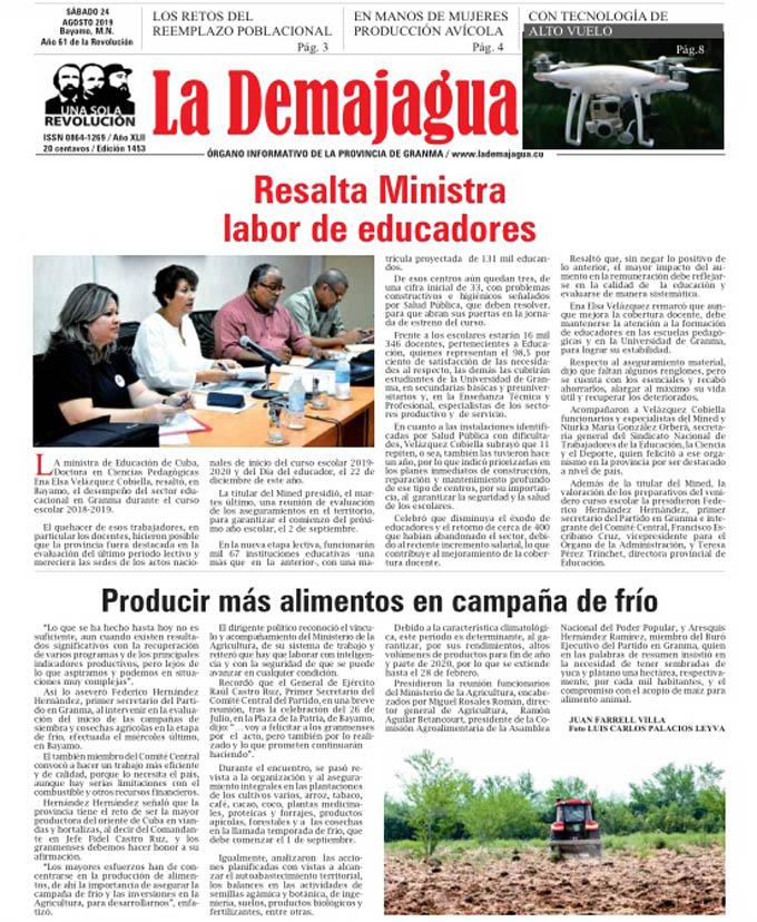 Edición impresa 1453 del semanario La Demajagua, sábado 24 de agosto de 2019