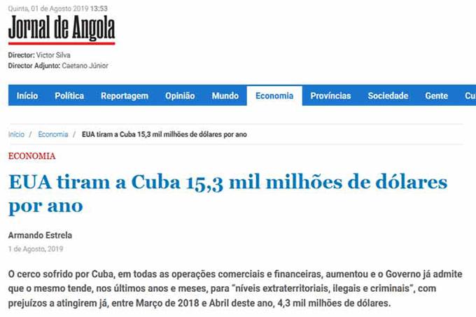 Diario angoleño denuncia daños del bloqueo estadounidense a Cuba