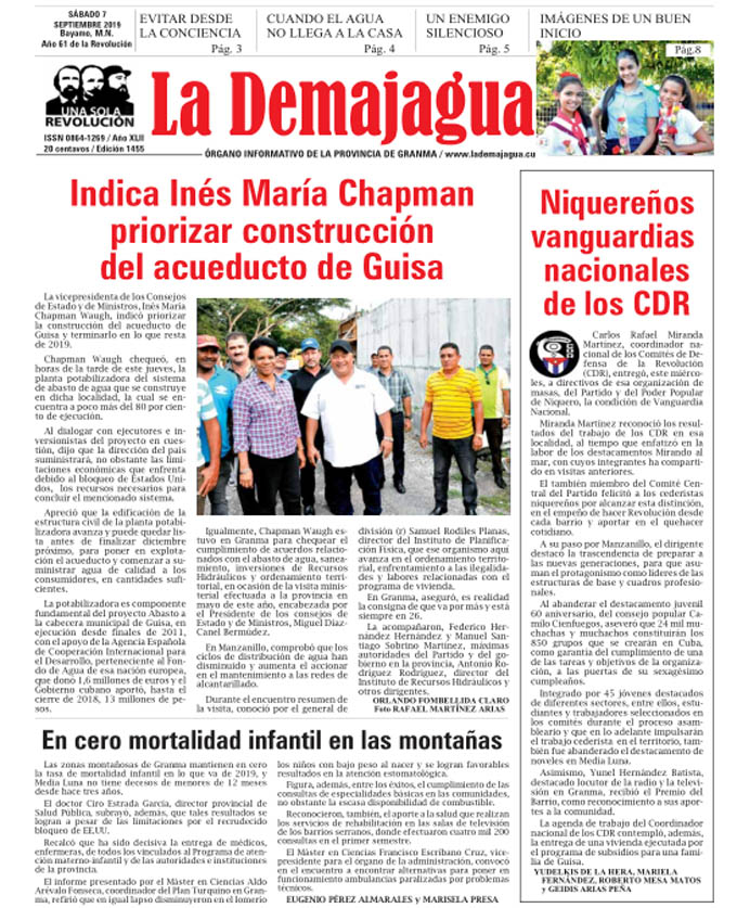 Edición impresa 1455, del semanario La Demajagua, sábado 7 de septiembre de 2019