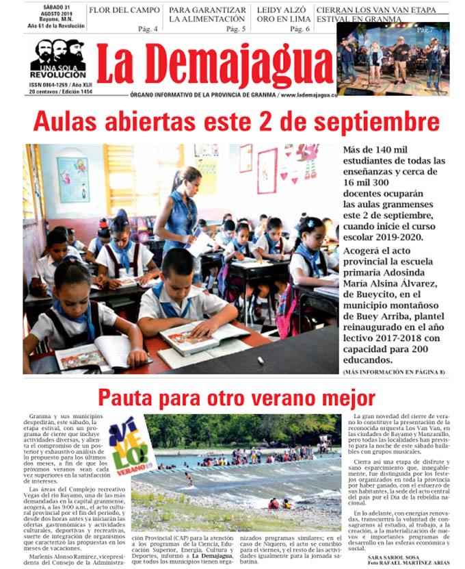 Edición impresa 1454 del semanario La Demajagua, sábado 31 de agosto de 2019