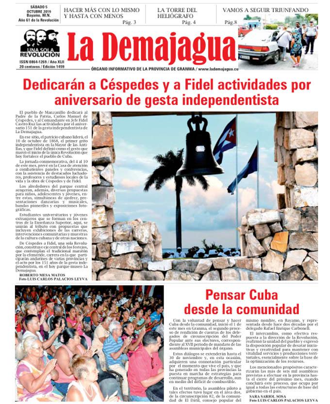 Edición impresa 1459 del semanario La Demajagua, sábado 6 de octubre de 2019