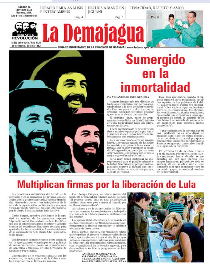 Edición impresa 1462 del semanario La Demajagua, sábado 26 de octubre de 2019,