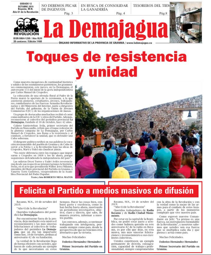 Edición impresa 1460 del semanario La Demajagua, sábado 12 de octubre de 2019