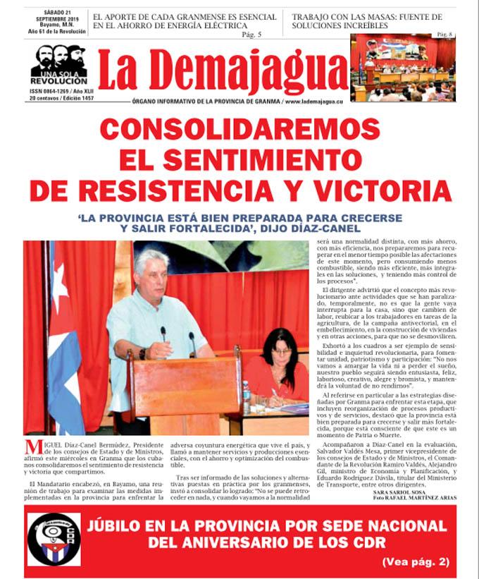 Edición impresa 1457, del semanario La Demajagua, sábado 21 de septiembre de 2019
