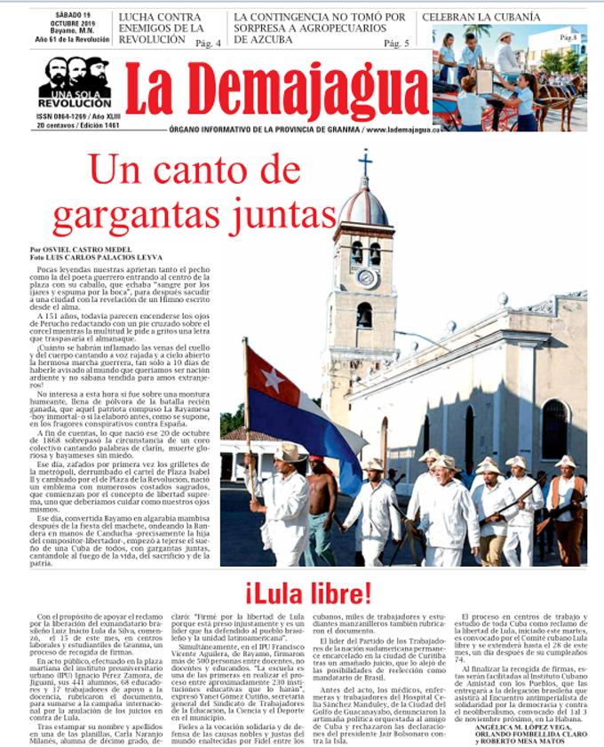 Edición impresa 1461 del semanario La Demajagua, sábado 19 de octubre de 2019