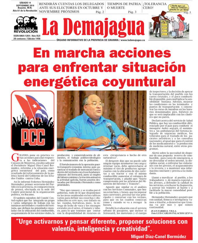 Edición impresa 1456, del semanario La Demajagua, sábado 21 de septiembre de 2019