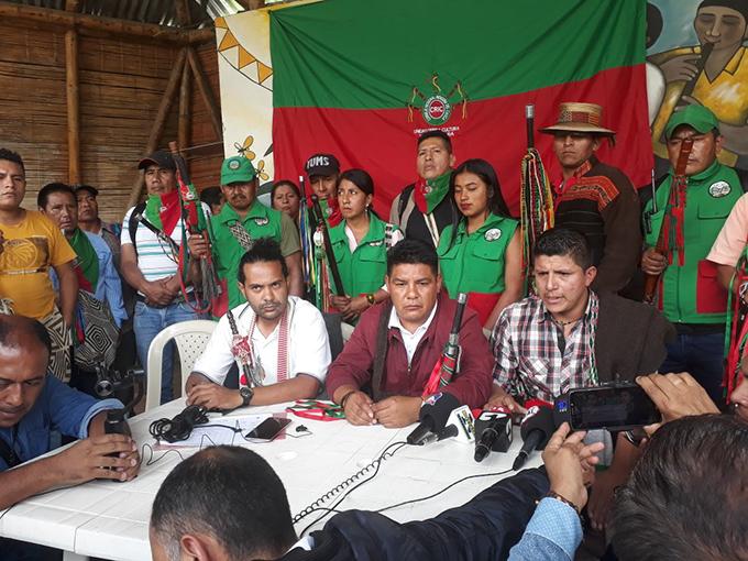 Indígenas del Cauca se suman a protestas en la capital de Colombia