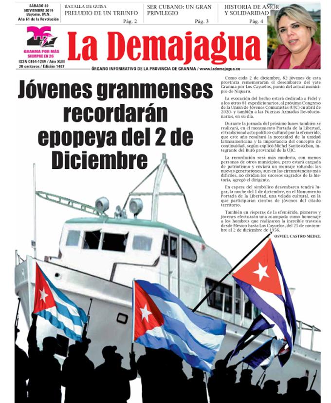Edición impresa 1467 del semanario La Demajagua, sábado 30 de noviembre de 2019