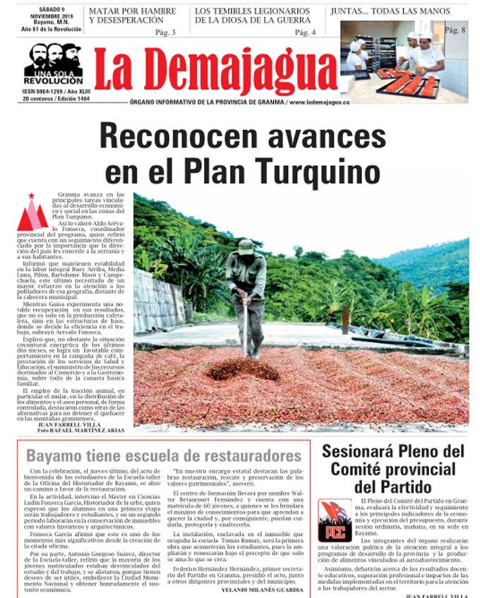 Edición impresa 1464 del semanario La Demajagua, sábado 9 de noviembre de 2019