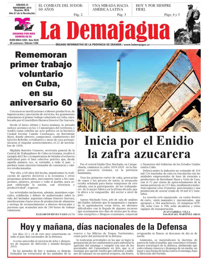 Edición impresa 1466 del semanario La Demajagua, sábado 23 de noviembre de 2019