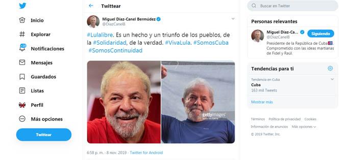 Presidente cubano celebra libertad de Lula da Silva