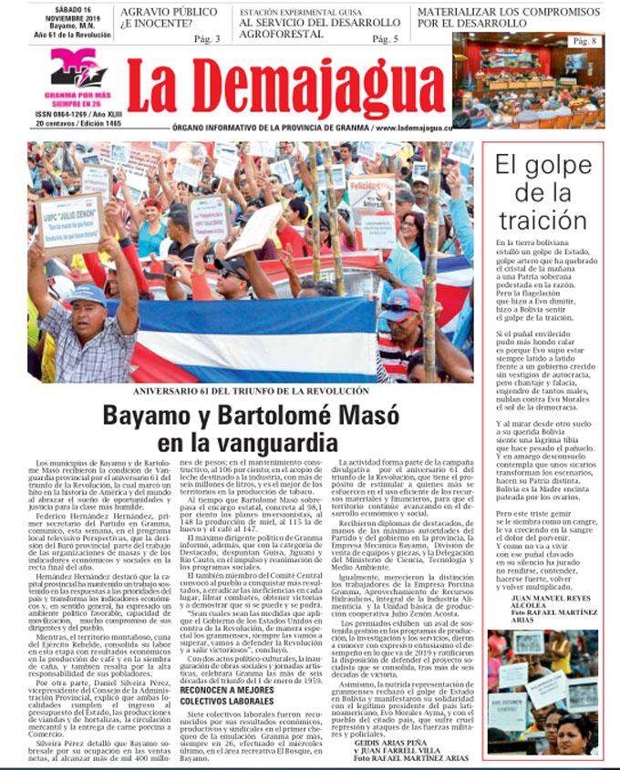 Edición impresa 1465 del semanario La Demajagua, sábado 16 de noviembre de 2019.