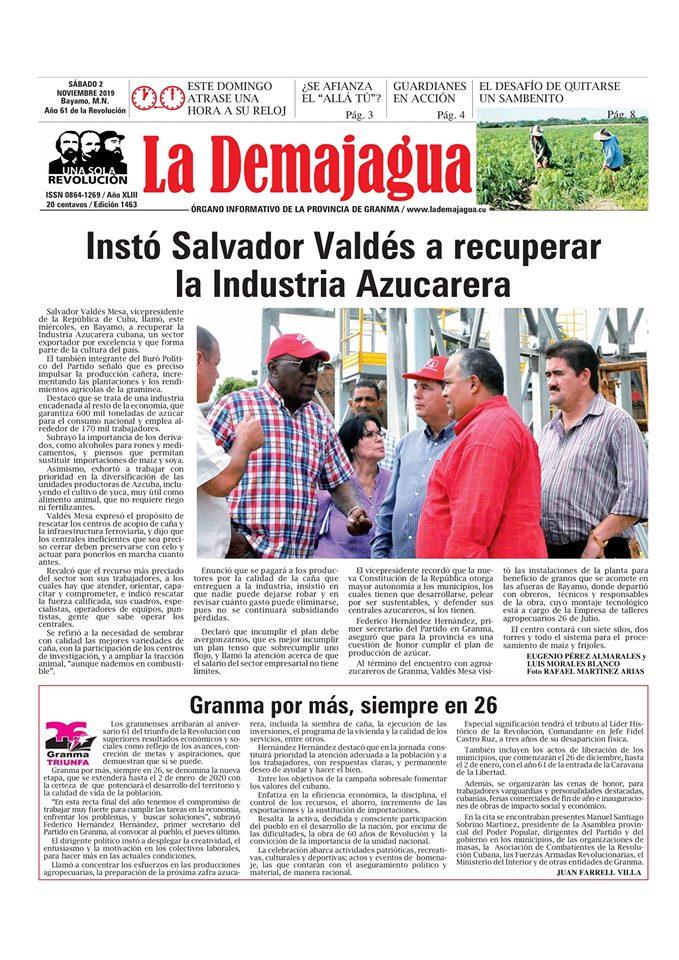 Edición impresa 1463 del semanario La Demajagua, sábado 2de noviembre de 2019
