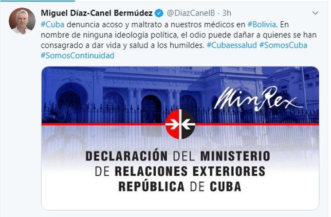 Denuncia Díaz-Canel acoso contra médicos cubanos en Bolivia