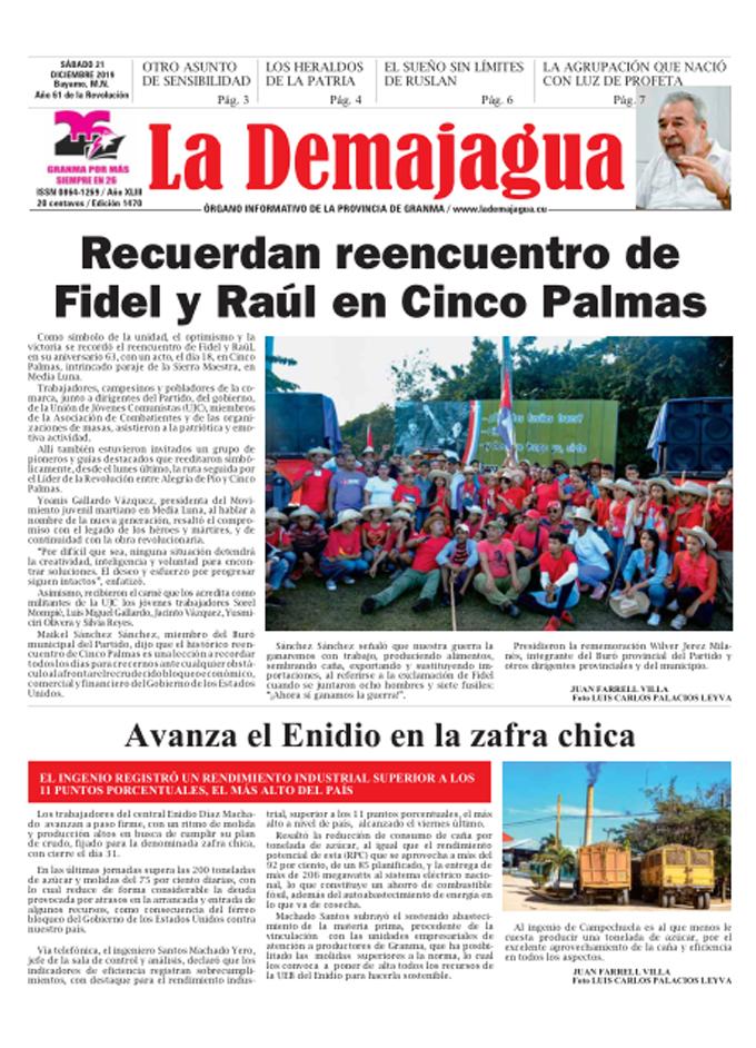 Edición impresa 1470 del semanario La Demajagua, sábado 21 de diciembre de 2019