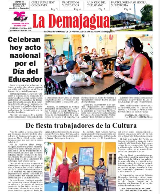 Edición impresa 1469 del semanario La Demajagua, sábado 14 de diciembre de 2019
